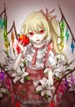 1girl adapted_costume apple blonde_hair eyelashes flandre_scarlet food fruit hair_between_eyes hair_ribbon highres holding holding_fruit looking_at_viewer open_mouth puffy_short_sleeves puffy_sleeves red_eyes red_ribbon red_skirt ribbon short_sleeves skirt skirt_set solo touhou white_flower wings wrist_cuffs ze_xia