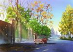 absurdres autumn_leaves bare_tree blue_sky car day evening gate ground_vehicle highres hirota_(masasiv3) mini_cooper motor_vehicle no_humans outdoors road scenery sky street tree wall