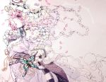 1girl bow bowtie butterfly cherry_blossoms frills hat hitodama japanese_clothes kimono lowres mob_cap petals pink_hair profile red_eyes ribbon saigyouji_yuyuko sash short_hair solo somber takatora tears touhou triangular_headpiece wide_sleeves
