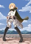 absurdres blonde_hair blue_eyes blue_sky blush boots cape christa_renz clouds day denim full_body highres jeans long_sleeves looking_at_viewer lulumiya_(abbb1233) pants ponytail railroad_tracks shingeki_no_kyojin sky smile standing three-dimensional_maneuver_gear weapon