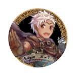 1boy boey_(fire_emblem) brown_eyes cape circlet copyright_name dark_skin fire_emblem fire_emblem_echoes:_mou_hitori_no_eiyuuou gloves male_focus open_mouth portrait simple_background solo teeth white_background white_hair yukimiyuki