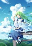 1girl ahoge bare_shoulders bird black_shoes blue_skirt blue_sky clouds cloudy_sky day detached_sleeves frog_hair_ornament gohei green_eyes green_hair hair_ornament hair_tubes highres hill kochiya_sanae mary_janes shirt shoes sitting skirt sky smile socks solo torii touhou white_legwear white_shirt wide_sleeves wristband yorktown_cv-5