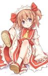1girl ascot bangs blue_eyes bow brown_hair eyebrows_visible_through_hair full_body hair_between_eyes hair_bow highres juliet_sleeves long_sleeves looking_at_viewer puffy_sleeves red_bow shoes short_hair simple_background sitting socks solo sunny_milk touhou twintails usotsuki_penta white_background white_legwear