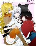 4girls black_hair blake_belladonna blonde_hair blue_eyes breasts cape cleavage commentary_request earrings english group_hug hair_ornament harem hug jewelry monokuro_(sekahate) multiple_girls redhead ruby_rose rwby scar scar_across_eye thigh-highs violet_eyes weiss_schnee white_hair yang_xiao_long yuri