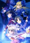 4girls absurdres black_hair black_ribbon blonde_hair blue_bow blue_dress blue_eyes bow brown_eyes card detached_sleeves dress drill_hair earrings fate/kaleid_liner_prisma_illya fate/stay_night fate_(series) floating_hair gloves hair_bow hair_ribbon highres holding holding_card holding_staff illyasviel_von_einzbern index_finger_raised jewelry long_hair luviagelita_edelfelt miyu_edelfelt multiple_girls red_eyes red_shirt ribbon shirt silver_hair staff tohsaka_rin twintails white_gloves white_ribbon