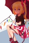 1girl bangs black_legwear black_shirt blonde_hair blush bow bracelet brown_eyes bubble_blowing eyebrows_visible_through_hair flandre_scarlet gem hair_between_eyes hair_bow holding holding_umbrella jewelry long_hair looking_at_viewer parasol pink_skirt pointy_ears red_bow red_shoes shirt shoes side_ponytail sidelocks sitting skirt sneakers socks solo striped t-shirt touhou transistor tsurime umbrella vertical-striped_skirt vertical_stripes white_skirt wings