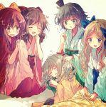 5girls asakaze_(kantai_collection) bangs barefoot black_hair black_hakama blue_bow blue_hakama bow brown_hair closed_eyes drill_hair green_hakama hair_bow hakama harukaze_(kantai_collection) hat hatakaze_(kantai_collection) japanese_clothes kamikaze_(kantai_collection) kantai_collection kimono light_brown_hair long_hair lying matsukaze_(kantai_collection) meiji_schoolgirl_uniform mini_hat mini_top_hat multiple_girls nanahamu pink_hakama pink_kimono ponytail purple_hair red_bow red_hakama red_kimono short_hair swept_bangs tatami top_hat twin_drills wavy_hair wide_sleeves yellow_bow yellow_kimono