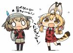2girls animal_ears backpack bag blank_eyes blonde_hair brown_eyes bucket_hat comic commentary_request cosplay gloves hair_ornament hands_up hat hat_feather hidamari_sketch kaban_(kemono_friends) kaban_(kemono_friends)_(cosplay) kanikama kemono_friends light_brown_hair long_sleeves lowres miyako multiple_girls open_mouth pantyhose pantyhose_under_shorts red_shirt school_uniform serval_(kemono_friends) serval_(kemono_friends)_(cosplay) serval_ears serval_tail shadow shirt short_sleeves shorts sidelocks smile surprised sweatdrop t-shirt tail translation_request x_hair_ornament yuno