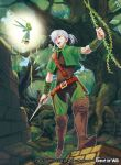 1boy belt boots braid copyright_name dagger force_of_will full_body grass leaf long_hair male_focus official_art orange_eyes ponytail solo teeth tree weapon white_hair