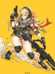 1girl artist_name black_boots blonde_hair blue_eyes boots commentary dutch_angle elbow_pads english fingerless_gloves full_body glasses gloves gun handgun headset highres holding holding_gun holding_weapon knee_pads long_hair looking_to_the_side open_mouth original pistol rifle round_glasses shell_casing sketch socks solo tactical_clothes trigger_discipline very_long_hair weapon white_legwear woo_kim yellow_background