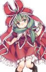1girl bangs black_boots blunt_bangs boots closed_mouth eyebrows_visible_through_hair frills green_eyes green_hair hair_over_shoulder hair_twirling highres kagiyama_hina looking_at_viewer puffy_short_sleeves puffy_sleeves red_skirt short_sleeves simple_background skirt solo touhou usotsuki_penta white_background
