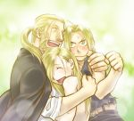 3boys alphonse_elric belt black_shirt blonde_hair blush brothers clenched_hand closed_eyes coat edward_elric embarrassed father_and_son fingernails frown fullmetal_alchemist green_background hug long_hair looking_at_another male_focus multiple_boys nenone_miya open_mouth pants ponytail shirt siblings simple_background smile sweatdrop tears van_hohenheim yellow_eyes