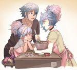 1boy 2girls apron blue_hair cooking egg egg_yolk fire_emblem fire_emblem_if grin hair_bun lazward_(fire_emblem_if) multiple_girls parent_and_child pieri_(fire_emblem_if) shy_(ribboneels) smile soleil_(fire_emblem_if) two_side_up whisk