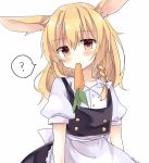 1girl ? animal_ears apron blonde_hair blush braid carrot collared_shirt eating food head_tilt highres kirisame_marisa long_hair looking_at_viewer mouth_hold no_hat no_headwear rabbit_ears rbtt shirt side_braid single_braid skirt skirt_set solo touhou vest waist_apron yellow_eyes