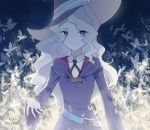 1girl belt blonde_hair blue_background blue_eyes breasts butterfly_print date diana_cavendish eyebrows highres little_witch_academia long_hair ribbon robe school_uniform small_breasts smile solo wavy_hair witch_hat
