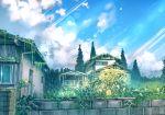 anonamos balcony blue_sky clouds cloudy_sky commentary_request flower grass house moss no_humans original scenery sky tree wall window