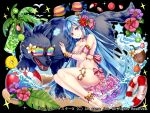 anklet ass ball bangle bare_shoulders beachball bikini blue_hair blush bow bracelet breasts choker collarbone drink fantasy fish flower food frilled_skirt frills fruit hair_bow hair_flower hair_ornament hakuda_tofu innertube jewelry kiwifruit leg_ornament long_hair looking_at_viewer medium_breasts melon_slice navel official_art petting pineapple_slice pink_bikini pink_skirt skirt smile snowflakes star strawberry striped striped_bow sunglasses swimsuit tropical_fish violet_eyes wolf
