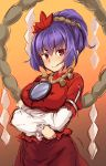 1girl bangs breasts brown_skirt closed_mouth cowboy_shot crossed_arms eyebrows_visible_through_hair gradient gradient_background hair_ornament highres leaf_hair_ornament long_hair looking_at_viewer medium_breasts mirror purple_hair red_eyes rope shide shimenawa short_sleeves skirt smile solo touhou usotsuki_penta yasaka_kanako