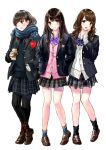 3girls black_hair black_legwear blue_scarf brown_eyes brown_hair brown_shoes coat coffee hair_ornament hands_in_pockets kazuharu_kina long_hair looking_at_viewer multiple_girls original plaid plaid_skirt scarf school_uniform shoes skirt smile socks standing tongue tongue_out