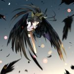 1girl arm_cannon black_feathers black_hair black_wings bow cape feathers full_body gorilla_(bun0615) gradient gradient_background green_bow green_skirt hair_bow highres long_hair looking_at_viewer miniskirt puffy_short_sleeves puffy_sleeves red_eyes reiuji_utsuho short_sleeves skirt solo touhou weapon wings