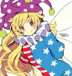 1girl american_flag_dress blonde_hair closed_mouth clownpiece fairy_wings hat iroyopon jester_cap long_hair looking_at_viewer neck_ruff polka_dot red_eyes simple_background smile solo star star-shaped_pupils star_print striped symbol-shaped_pupils touhou very_long_hair wavy_hair white_background wings