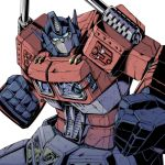 1boy 80s autobot blue_eyes broken clenched_hand damaged fighting_stance headgear insignia kamizono_(spookyhouse) looking_at_viewer machine machinery male mecha no_humans oldschool optimus_prime robot simple_background solo transformers white_background