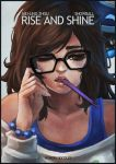 1girl absurdres black-framed_eyewear bracelet brown_eyes brown_hair casual character_name commentary drone eyelashes freckles highres jewelry lips long_hair mei_(overwatch) messy_hair monori_rogue off-shoulder_sweater one_eye_closed overwatch robot snowball_(overwatch) solo sweater tank_top toothbrush toothbrush_in_mouth upper_body waking_up