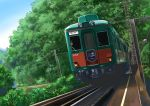 blue_sky bush cable commentary_request day forest grass ground_vehicle highres hirota_(masasiv3) nature no_humans outdoors railroad_tracks scenery sky train