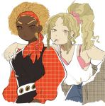 2girls afro aqua_teen_hunger_force arm_around_shoulder bare_shoulders belt blonde_hair bow bra brown_eyes cigarette cowboy_shot curly_hair dark_skin eyebrows frylock genderswap genderswap_(mtf) high_ponytail highres long_hair long_sleeves master_shake multiple_girls puffy_sleeves scrunchie shirt_tucked_in simple_background sweatdrop tank_top thick_eyebrows tokimekiwaku underwear white_background