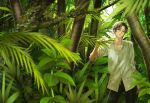 1boy black_pants brown_eyes brown_hair collarbone day forest leaf looking_at_viewer male_focus minamibe moss nature original outdoors pants shirt solo standing tree white_shirt