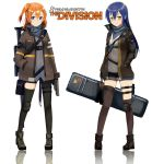 2girls asymmetrical_legwear black_legwear black_shorts blue_eyes blue_hair blue_shorts blush brown_eyes brown_jacket brown_legwear full_body fuyuko_(1361329135) gun hair_between_eyes hand_in_pocket highres holding holding_gun holding_weapon holster jacket kneehighs kousaka_honoka long_hair looking_at_viewer love_live! love_live!_school_idol_project multiple_girls open_clothes open_jacket orange_hair rifle short_shorts shorts side_ponytail simple_background smie sonoda_umi thigh-highs thigh_holster tom_clancy's_the_division weapon white_background