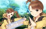2girls brown_eyes brown_hair commentary_request futami_ami futami_mami grin hair_bobbles hair_ornament highres hitoto holding holding_sign idolmaster idolmaster_platinum_stars jacket long_hair multiple_girls one_eye_closed open_clothes open_jacket open_mouth outdoors short_hair siblings side_ponytail sign sisters smile star teeth track_jacket tree twins