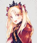 1girl bangs blonde_hair blush bow cape cloak earrings ereshkigal_(fate/grand_order) fate/grand_order fate_(series) grey_background hair_bow hood hood_down hooded_cloak image_sample jewelry long_hair looking_at_viewer open_mouth orange_eyes parted_bangs red_bow red_cape simple_background smile solo spine tiara tohsaka_rin twintails twitter_sample two_side_up upper_body upper_teeth urayamashiro_(artist)