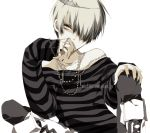 1boy androgynous bad_id bad_pixiv_id belphegor_(reborn) hair_over_eyes jewelry katekyo_hitman_reborn looking_at_viewer male_focus misteor necklace shirt short_hair smile solo striped striped_shirt tiara
