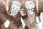 2boys beard facial_hair fate/grand_order fate_(series) formal glasses gloves hand_on_eyewear highres james_moriarty_(fate/grand_order) looking_at_viewer male_focus monochrome multiple_boys mustache qsie95 scarf smile smoke smoking vest white_hair william_tell_(fate/grand_order)