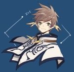 1boy blue_background brown_hair cape character_name closed_mouth earrings feather_earrings green_eyes jewelry looking_at_viewer male_focus messy_hair smile solo sorey_(tales) tales_of_(series) tales_of_zestiria upper_body white_cape yurichi_(artist)