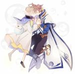 2boys ahoge bag belt black_pants black_shoes blonde_hair blue_shirt boots brown_hair cape closed_eyes earrings feather_earrings jewelry laphicet_(tales) male_focus multiple_boys pants robe shirt shoes smile sorey_(tales) tales_of_(series) tales_of_berseria tales_of_zestiria white_background white_boots white_cape yurichi_(artist)