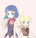 2girls alternate_hair_length alternate_hairstyle black_shirt blonde_hair blue_eyes blue_hair eureka_(pokemon) grin hair_ornament hairclip hikari_(pokemon) mei_(maysroom) multiple_girls pokemon pokemon_(anime) pokemon_(game) pokemon_dppt pokemon_xy red_scarf scarf shirt short_hair simple_background sleeveless sleeveless_shirt smile