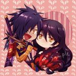 1boy 1girl akke black_hair blush breasts chibi gloves hair_over_one_eye japanese_clothes long_hair low_ponytail orange_eyes rokurou_rangetsu smile sword tales_of_(series) tales_of_berseria velvet_crowe weapon white_background yellow_eyes