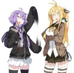 2girls ahoge backpack bag black_legwear blonde_hair blue_eyes blush breasts brown_skirt cardigan dress_shirt hand_up karei large_breasts long_hair low_twintails miniskirt multiple_girls open_cardigan open_clothes open_mouth pleated_skirt ponytail purple_hair sailor_collar shirt short_hair_with_long_locks sidelocks simple_background skirt smile sweatdrop thigh-highs tsurumaki_maki twintails vocaloid voiceroid waving_arm white_background white_legwear white_shirt white_skirt yuzuki_yukari zettai_ryouiki