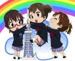 3girls ahenn brown_eyes brown_hair glasses hirasawa_ui k-on! manabe_nodoka multiple_girls ponytail red-framed_glasses school_uniform semi-rimless_glasses short_hair suzuki_jun tower twintails under-rim_glasses
