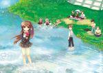 cat kamikita_komari kurugaya_yuiko little_busters little_busters! misaki_kozue natsume_rin nishizono_mio noumi_kudryavka picnic river saigusa_haruka umbrella water