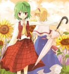 2girls alice_margatroid ascot bad_id blonde_hair chocho_(homelessfox) closed_umbrella dandelion flower green_hair hairband kazami_yuuka multiple_girls nature plaid plaid_skirt plaid_vest red_eyes short_hair skirt skirt_set smile sunflower touhou umbrella