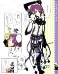;p belt belts boots bracelet chef chef_hat collar comic eggplant elbow_gloves fishnets food_girls food_themed_clothes gloves green_eyes green_hair hair_over_one_eye hat highres jewelry lipstick long_hair melon-chan_(fg) mole nasubi-sama okama pale_skin purple purple_hair spiked_collar spikes strap straps strawberry-chan thigh-highs thighhighs tongue whip wink yuzu-chan