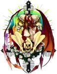 barefoot flandre_scarlet flower hat highres matching_outfit red_eyes remilia_scarlet rose roses short_hair siblings sisters skirt skull skulls symmetry todoroki_sora touhou wings