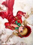 blonde_hair blue_eyes bonnet doll_joints dress drill_hair frills highres long_hair oil_painting_(medium) rozen_maiden shinku tafuto traditional_media