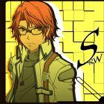 akito_(owata11) akito_(pixiv101375) axel_almer glasses lowres male parody persona persona_4 red_eyes red_hair redhead solo super_robot_wars