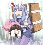 2girls =_= alternate_costume animal_ears backpack bag bamboo bamboo_forest bandage barefoot brown_hair bunny_tail carrying_under_arm commentary_request dress eyebrows_visible_through_hair forest frills head_bump inaba_tewi injury japanese_clothes long_hair long_sleeves multiple_girls nature open_mouth outdoors pants pink_dress purple_hair rabbit_ears reisen_udongein_inaba scarf shirosato short_hair short_sleeves sweat tail touhou very_long_hair