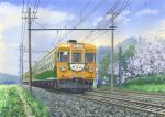 absurdres blue_sky cable cherry_blossoms clouds commentary_request day grass ground_vehicle highres hirota_(masasiv3) no_humans outdoors railroad_tracks scenery sky telephone_pole traditional_media train tree watercolor_(medium)