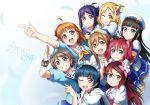 6+girls aozora_jumping_heart bangs hair_bun hat highres kunikida_hanamaru kurosawa_dia kurosawa_ruby love_live! love_live!_sunshine!! matsuura_kanan mole mole_under_mouth multiple_girls ohara_mari redhead sakurauchi_riko shiimai side_bun takami_chika tsushima_yoshiko watanabe_you